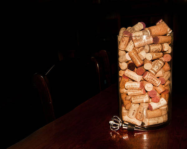 Wine Cork Bottle Poster featuring the photograph Palaver Corks by Randall Branham