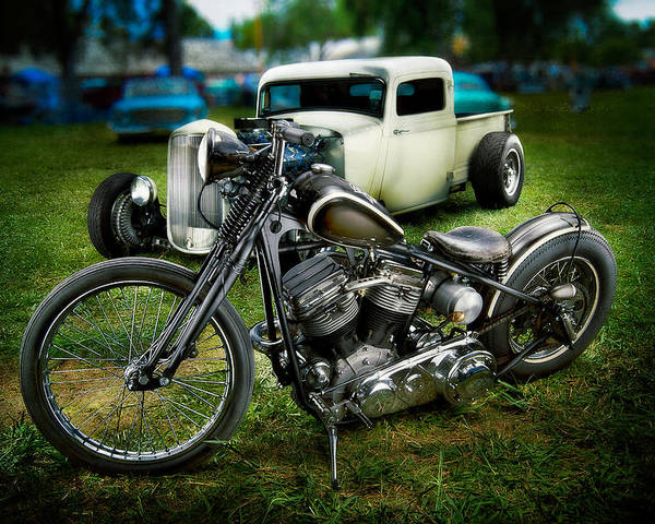 Antique Poster featuring the photograph Panhead Harley And Ford Pickup by YoPedro