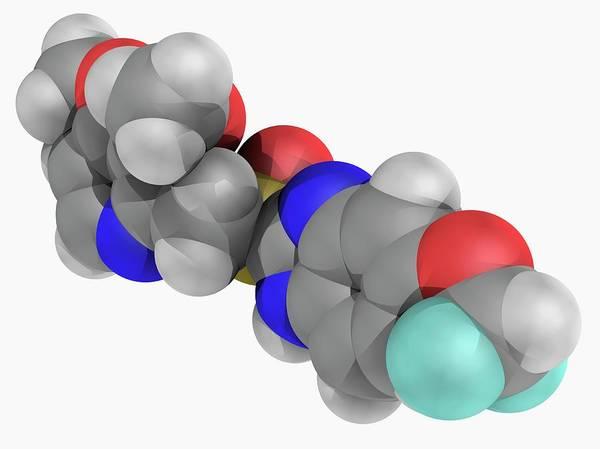 Artwork Poster featuring the photograph Pantoprazole Drug Molecule by Laguna Design/science Photo Library