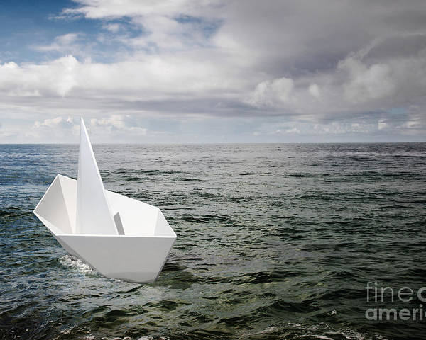 Abstract Poster featuring the photograph Paper Boat by Carlos Caetano