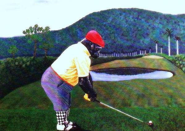 Golf Poster featuring the painting Par Four by George I Perez