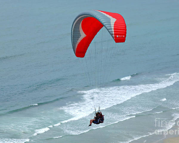 Paraglider Poster featuring the photograph Paragliding At Torrey Pines by Anna Lisa Yoder