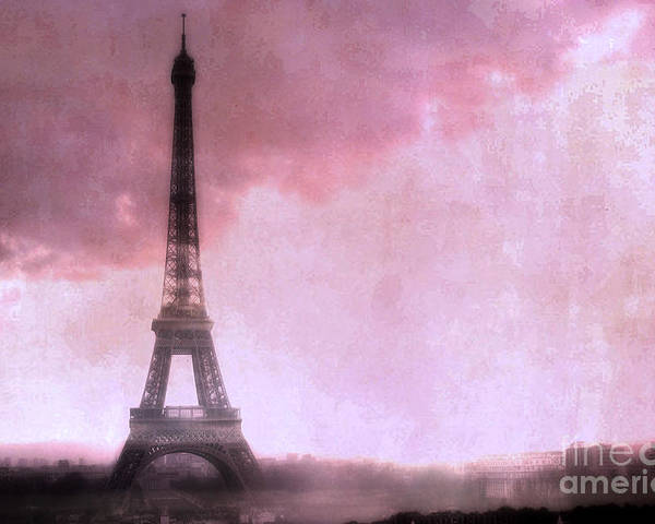 Eiffel Tower Paintings Poster featuring the photograph Paris Dreamy Pink Eiffel Tower Abstract Art - Romantic Eiffel Tower With Pink Clouds by Kathy Fornal