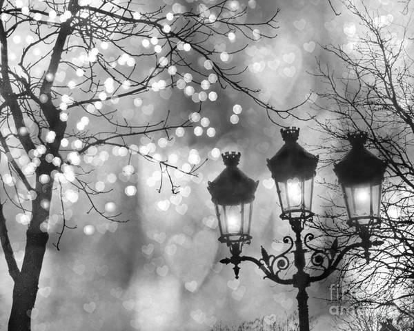 paris poster featuring the photograph paris christmas sparkle lights street lanterns paris holiday street lamps