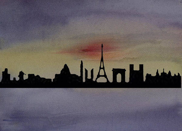 Paris Poster featuring the painting Paris Skyline by Donna Walsh