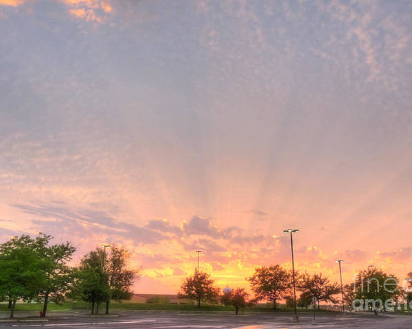 Illinois Poster featuring the photograph Parking Lot Sunset Spray by Deborah Smolinske