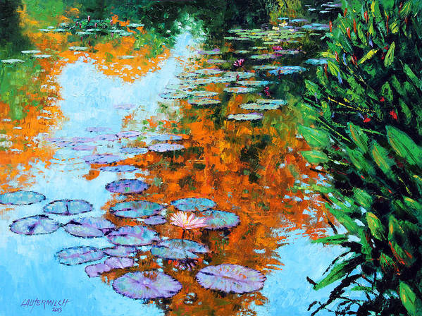Garden Pond Poster featuring the painting Passing Season by John Lautermilch