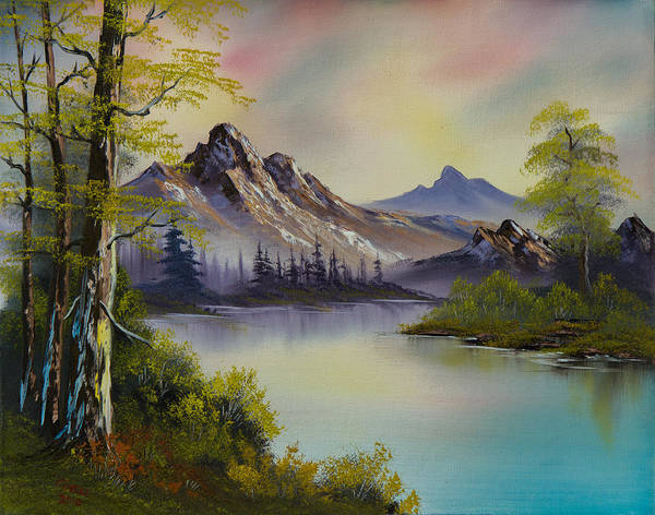 Landscape Poster featuring the painting Pastel Skies by C Steele