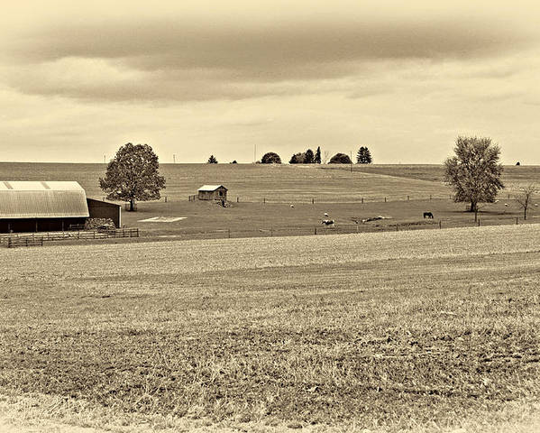 Pennsylvania Poster featuring the photograph Pastoral Pennsylvania Sepia by Steve Harrington