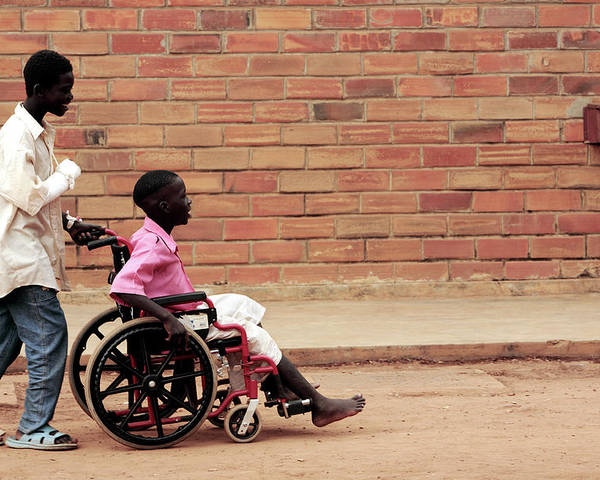 Disability Poster featuring the photograph Patients Outside A Hospital by Mauro Fermariello/science Photo Library