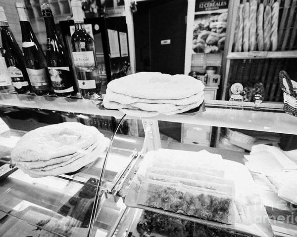 Patisserie Poster featuring the photograph Patisserie Boulangerie With Local Catalan Speciality Pastries Wine Bread In Mont-louis Pyrenees-orie by Joe Fox