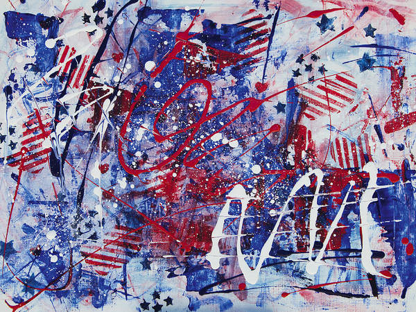 Patriotic Fireworks Abstract Poster featuring the painting Patriotic Fireworks by Julie Acquaviva Hayes