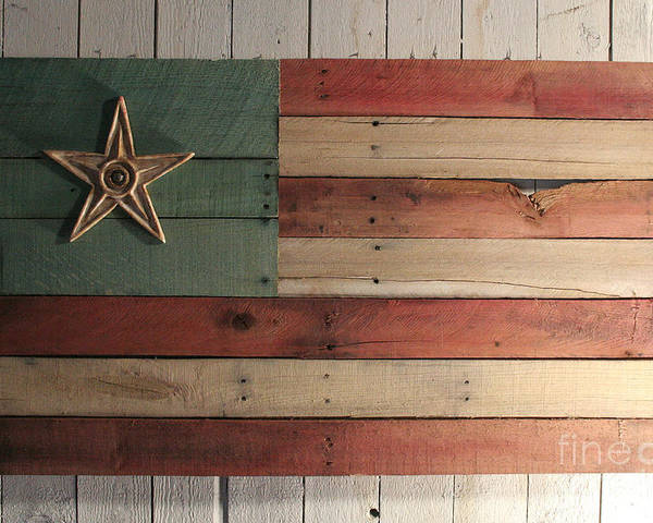 Wood Poster featuring the sculpture Patriotic Wood Flag by John Turek