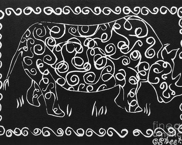 Rhino Poster featuring the relief Patterned Rhino by Caroline Street
