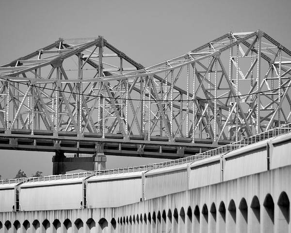 Bridge Poster featuring the photograph Patterns On The River by Bruce Smith