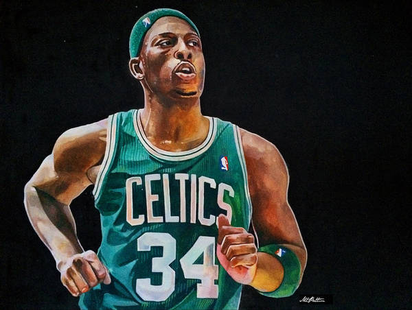 Paul Pierce Poster featuring the painting Paul Pierce - The Truth by Michael Pattison
