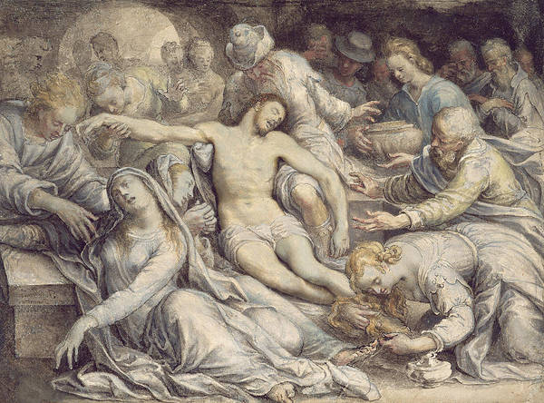 Lamentation Poster featuring the painting The Lamentation Over The Dead by Isaac Oliver