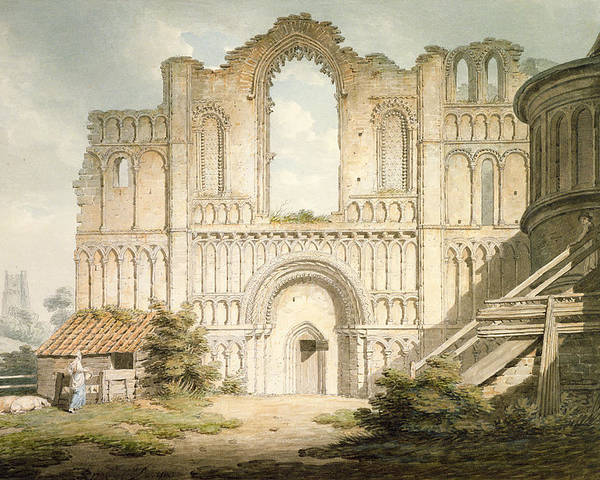 Ruin Poster featuring the drawing Pd.56-1958 West Front Of Castle Acre by Edward Dayes