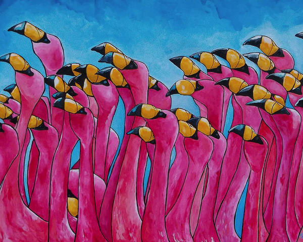 Flamingos Poster featuring the painting Peace Love And Flamingos by Patti Schermerhorn