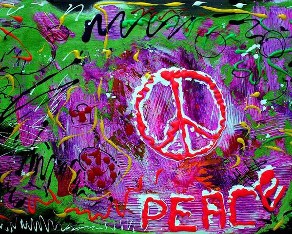 Peace Poster featuring the painting Peace Pie by Laura Barbosa