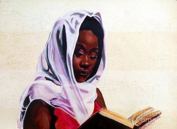 African American Art Black Girl Spiritual Knowledge Reading Poster featuring the painting Peace Within by Clayton Singleton