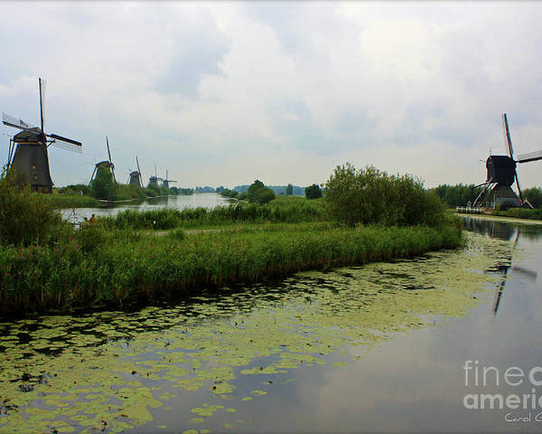 Kinderdijk Poster featuring the photograph Peaceful Kinderdijk by Carol Groenen