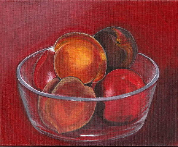 Peach Poster featuring the painting Peaches And Nectarines by Vera Lysenko