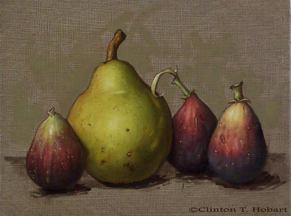 Pear Poster featuring the painting Pear And Figs by Clinton Hobart