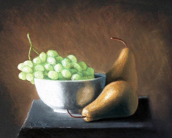 Pastel Poster featuring the painting Pears And Grapes by Joseph Ogle