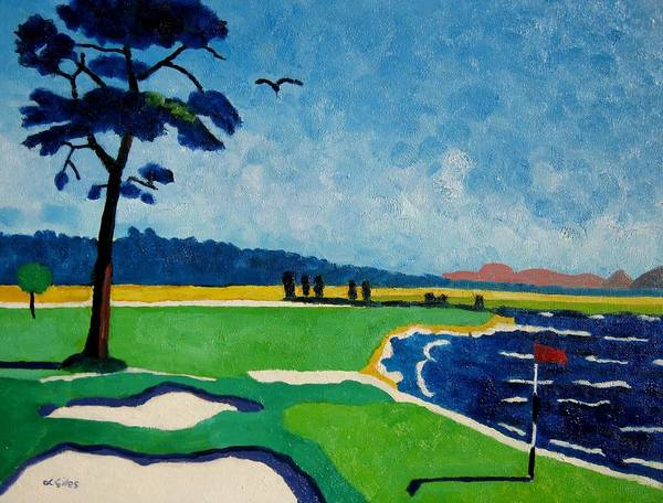 Golf Poster featuring the painting Pebble Beach 18 California by Lesley Giles