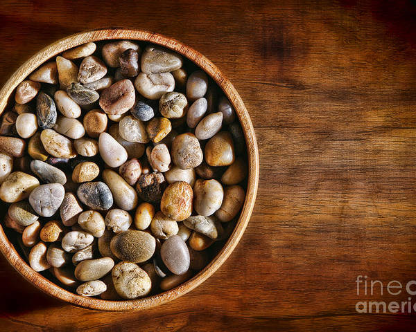 Pebbles Poster featuring the photograph Pebbles In Wood Bowl by Olivier Le Queinec