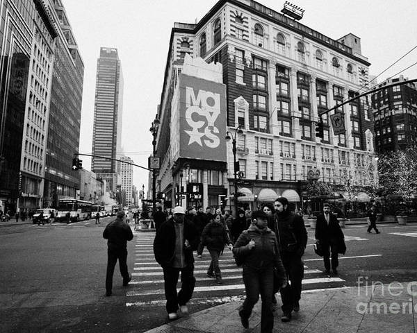 Usa Poster featuring the photograph Pedestrians Cross Crosswalk Crossing Of 6th Avenue Broadway And 34th Street At Macys New York Usa by Joe Fox