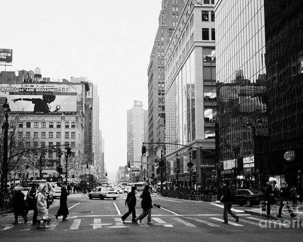 Usa Poster featuring the photograph Pedestrians Crossing Crosswalk On West 34th Street And Sixth 6th Avenue At Herald Square New York by Joe Fox