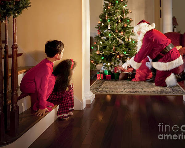 Christmas Poster featuring the photograph Peeking At Santa by Diane Diederich