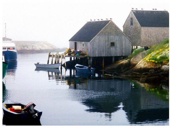 Coastal Poster featuring the photograph Peggy's Cove Boat And Fisherman's Boat House by Bob Sandler