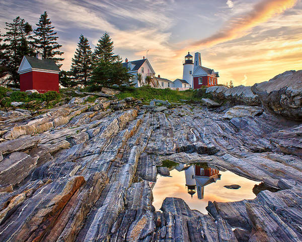 Attraction Poster featuring the photograph Pemaquid Lighthouse Reflection by Benjamin Williamson