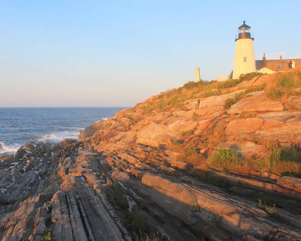 Pemaquid Point Lighthouse Poster featuring the photograph Pemaquid Point Lighthouse Bluffs by John Burk