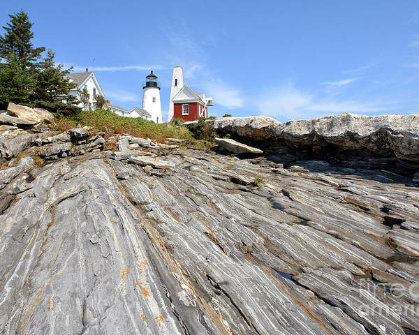 Maine Poster featuring the photograph Pemaquid Point Lighthouse In Maine by Olivier Le Queinec