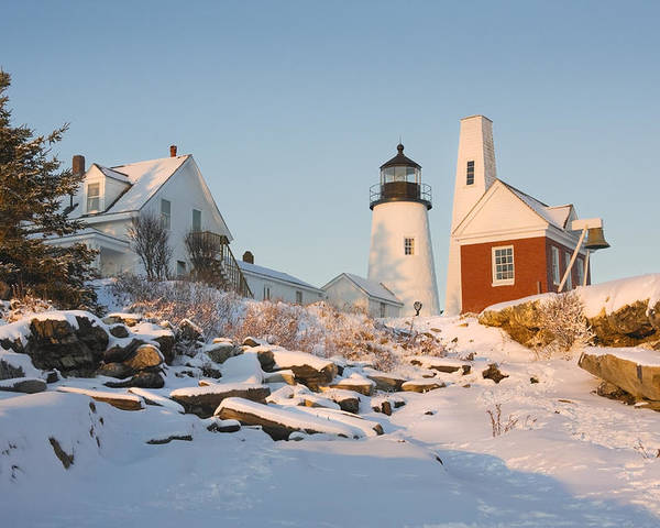 Lighthouse Poster featuring the photograph Pemaquid Point Lighthouse Winter In Maine by Keith Webber Jr
