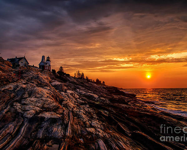 Atlantic Poster featuring the photograph Pemaquid Sunrise by Jerry Fornarotto