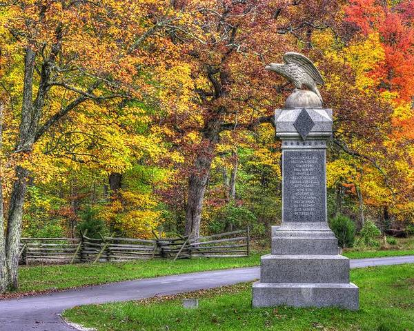 Civil War Poster featuring the photograph Pennsylvania At Gettysburg - 115th Pa Volunteer Infantry De Trobriand Avenue Autumn by Michael Mazaika