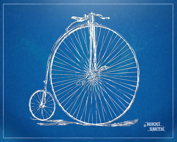 Penny-farthing Poster featuring the drawing Penny-farthing 1867 High Wheeler Bicycle Blueprint by Nikki Marie Smith