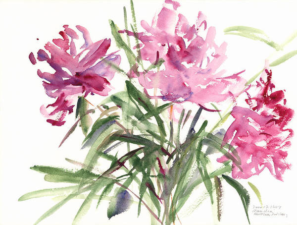 Peonies Poster featuring the painting Peonies by Claudia Hutchins-Puechavy