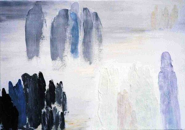 White Landscape Poster featuring the painting People Come And They Go by Bruce Combs - REACH BEYOND