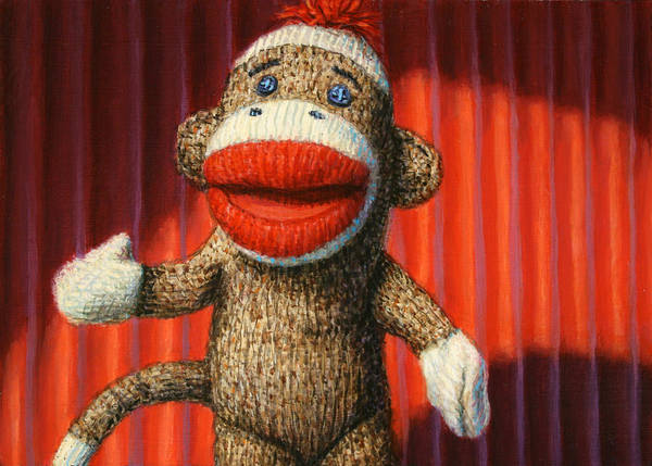 Sock Monkey Poster featuring the painting Performing Sock Monkey by James W Johnson