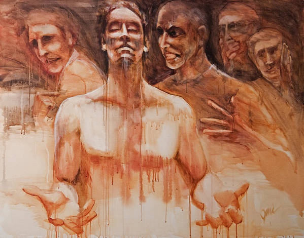 People Poster featuring the painting Persecution by Jani Freimann