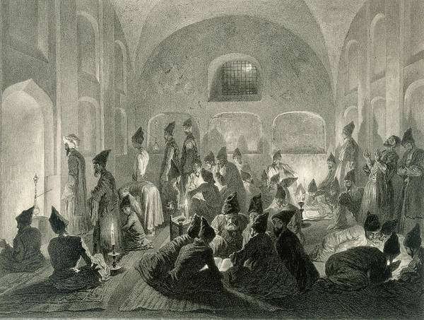 Mosquee Persane A Erivan Poster featuring the drawing Persian Mosque At Yerevan, Armenia by Grigori Grigorevich Gagarin