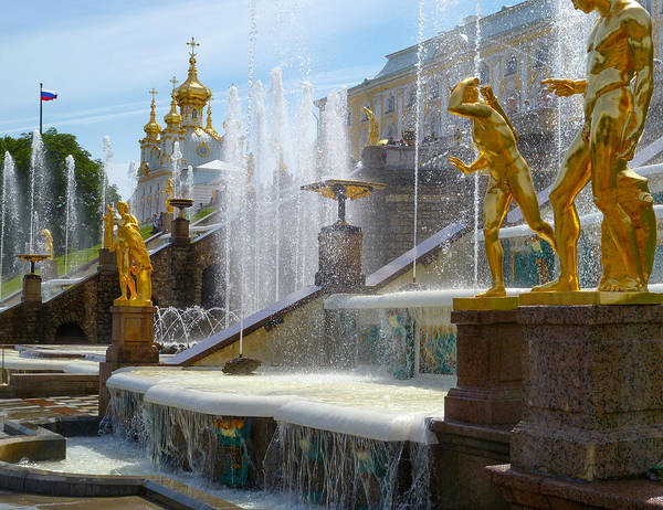 Peterhof Palace Poster featuring the photograph Peterhof Palace Fountains by David Nichols