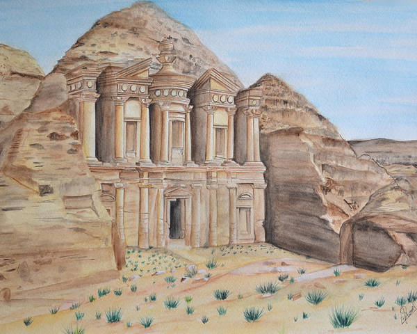 Petra Poster featuring the painting Petra by Swati Singh