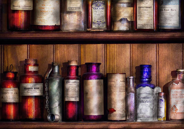 Suburbanscenes Poster featuring the photograph Pharmacy - Ingredients Of Medicine by Mike Savad